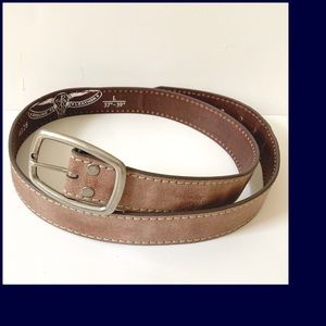 Western style Barbed Leather Brown Belt